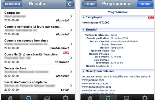 Application Jobmire sur iPhone