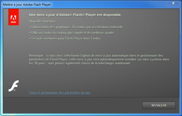 Vrai message Adobe Mise à jour Flash Player