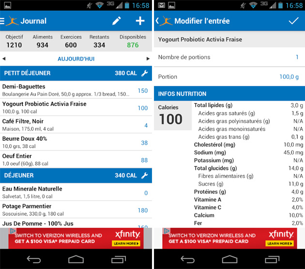 MyFitnessPal ajout aliment