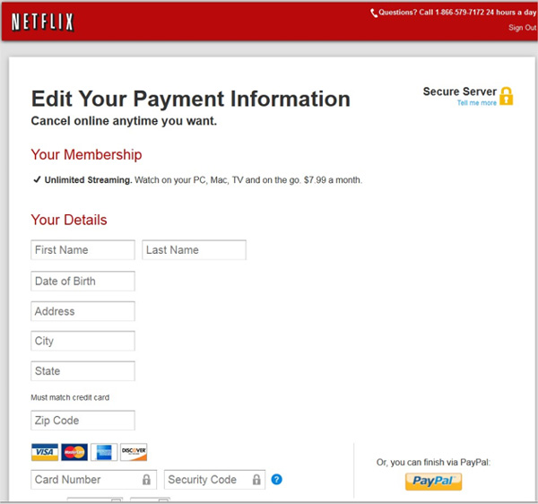 Netflix faux site Web