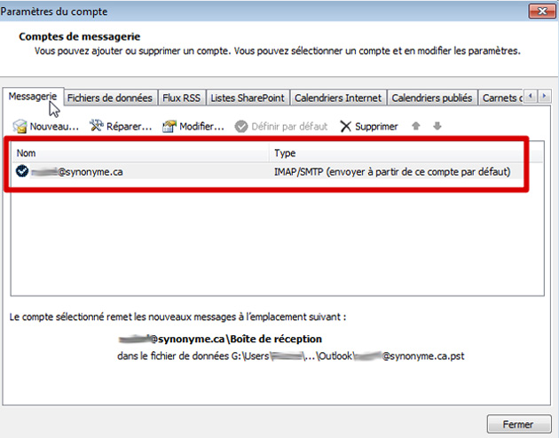 Outlook types de compte