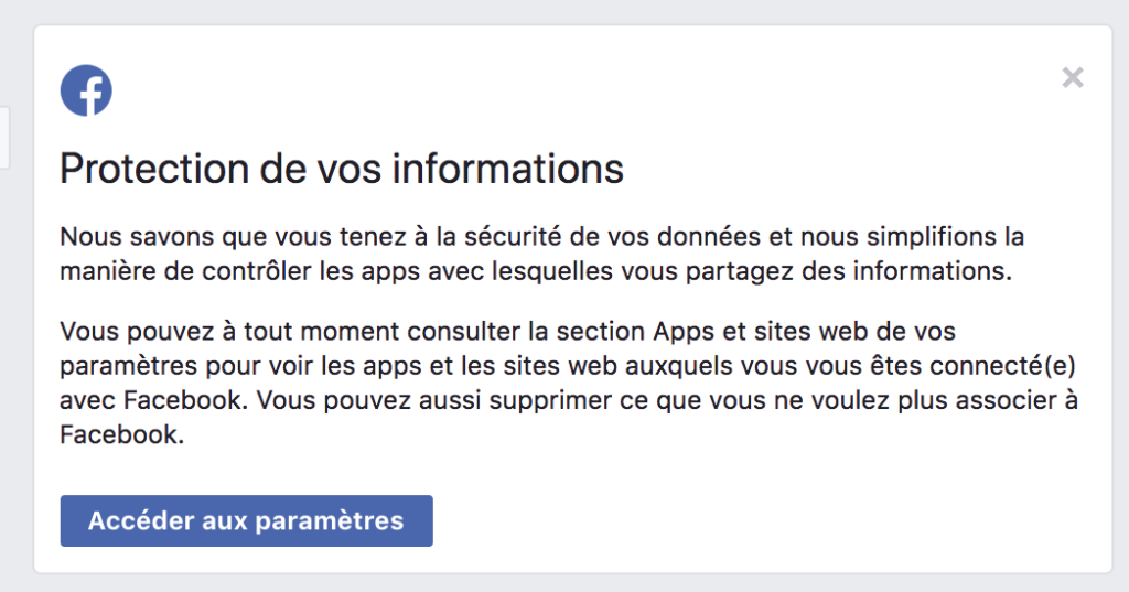Facebook protection données applications