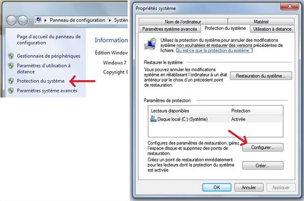 Protection système configurer