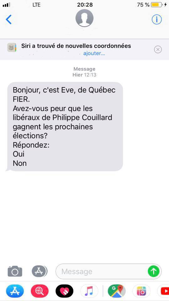 Quebec Fier Texto Message Texte