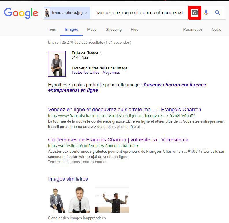 Recherche Google avec images