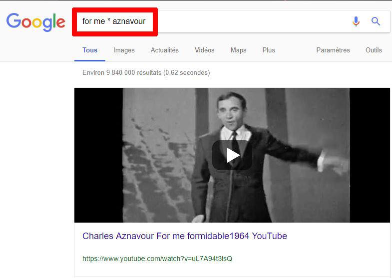 Recherche Google mot oublié *