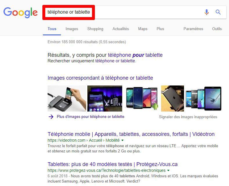 Recherche Google opposition or