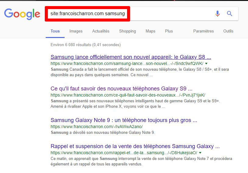 Recherches Google site précis site: