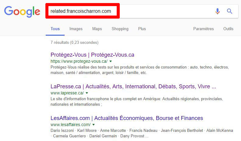 Recherche Google sites similaires related: