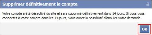 Supprimer son compte Facebook