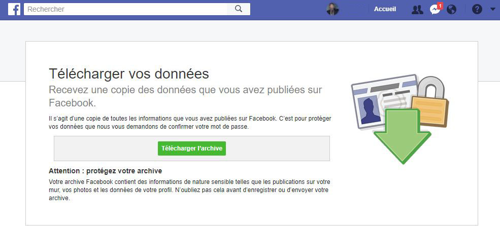 Telecharger copie donnees Facebook