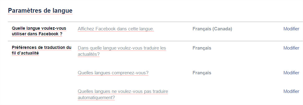 Traduction langue Facebook