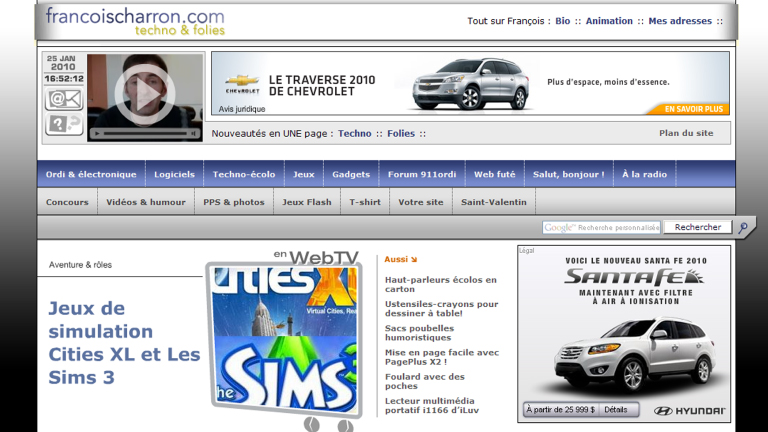 vieille interface francoischarron.com