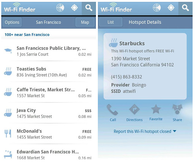Application Wi-Fi Finder résultats
