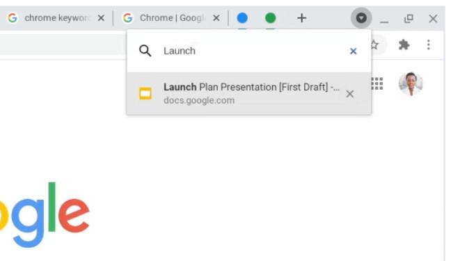 Chrome 87 recherche onglets