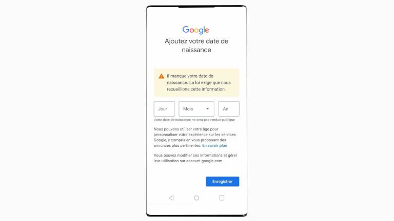 Avertissement date de naissance compte Google