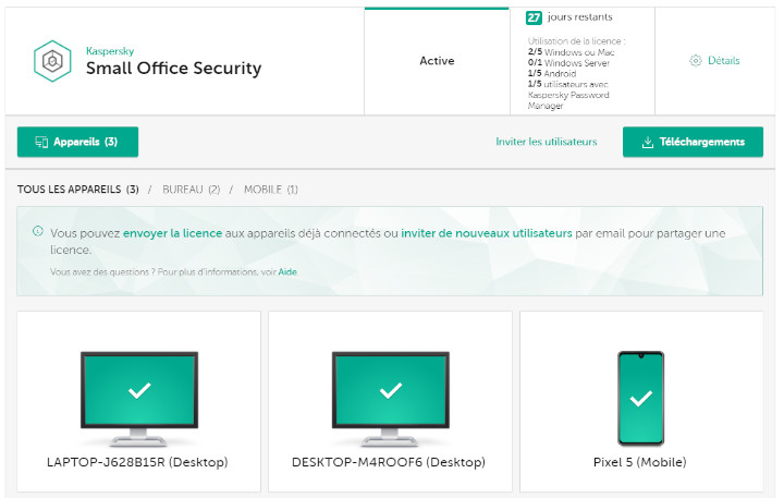 Kaspersky Small Office Security console administrateur