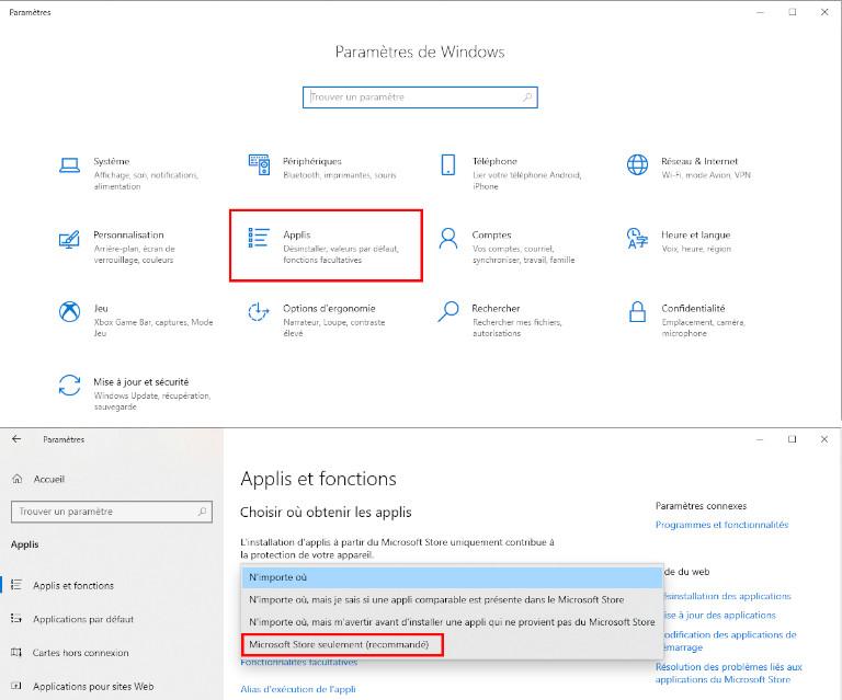 Choisir d'où obtenir les applications Windows 10