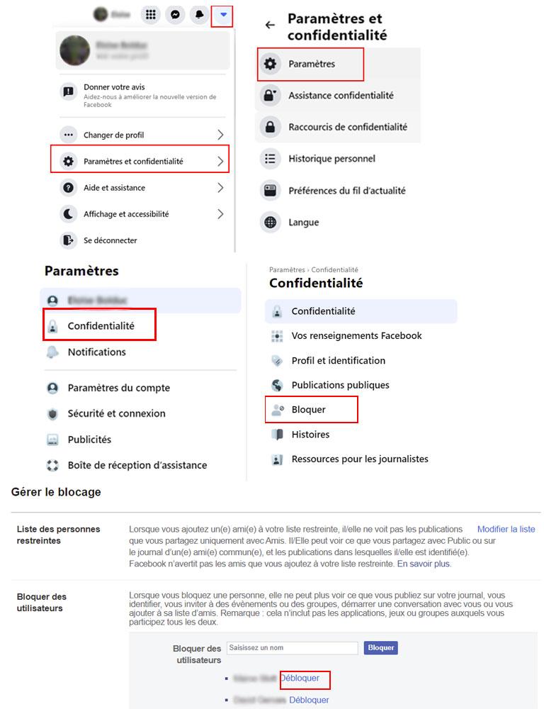 aperçu comment débloquer des contacts facebook navigateur web