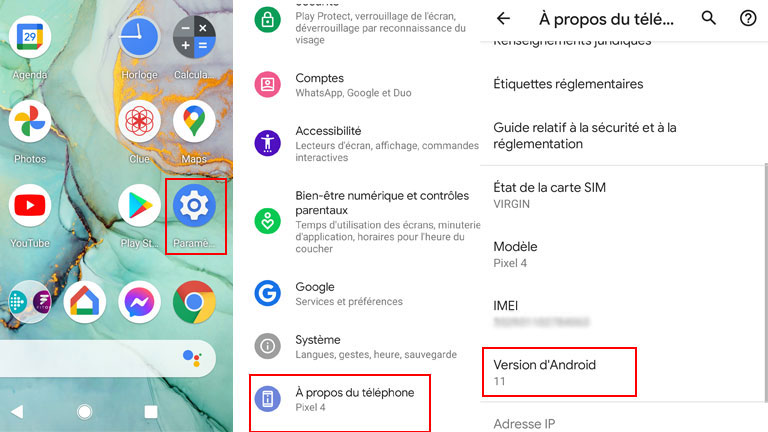 aperçu comment vérifier version système tablette android