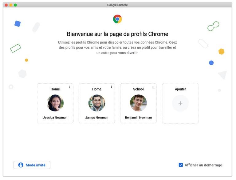 aperçu page profils google chrome nouveauté