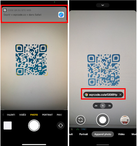 Appareil photo iPhone Android lire code QR