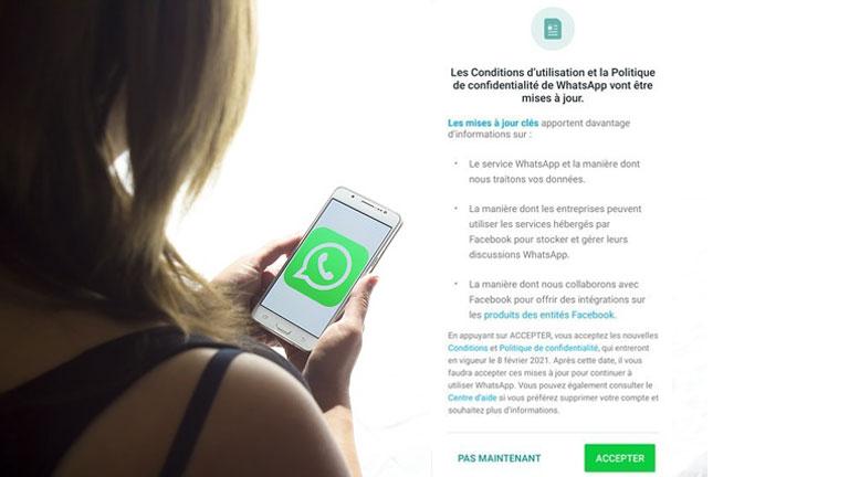 avis nouvelles conditions utilisations Whatsapp partage données Facebook.