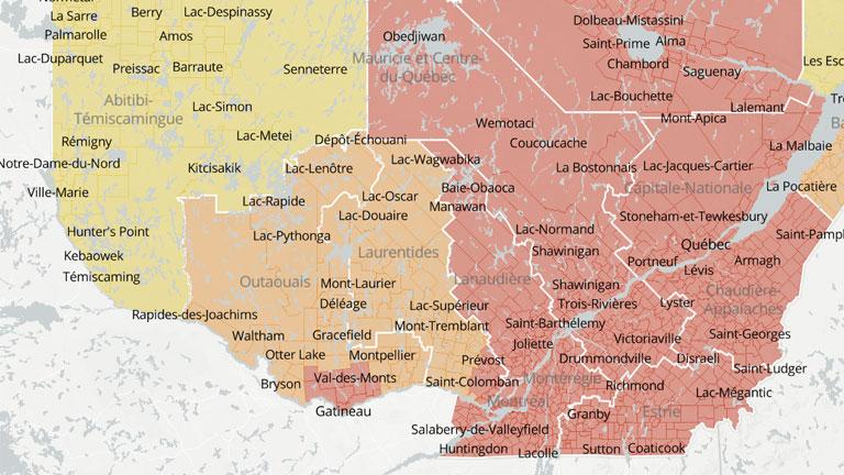 Voici La Bonne Carte Pour Suivre Les Paliers D Alerte De La Covid Au Quebec