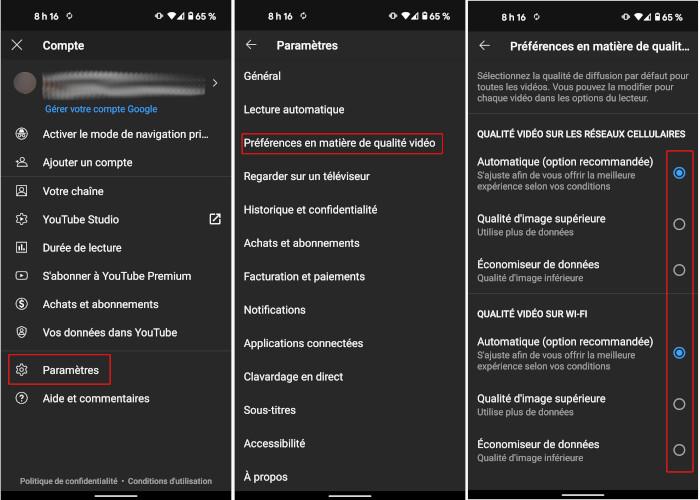 YouTube modifier préférences qualité vidéo par défaut application mobile