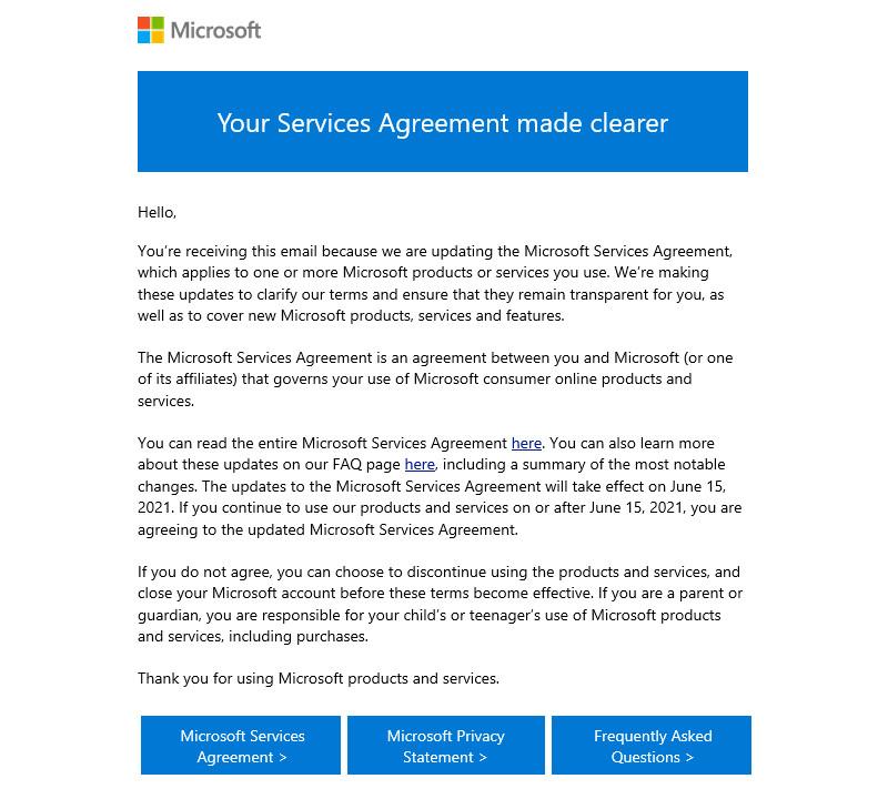 Microsoft courriel mise à jour contrat de services