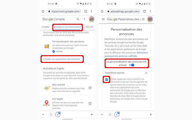 Comment désactiver personnalisation des annonces compte Google