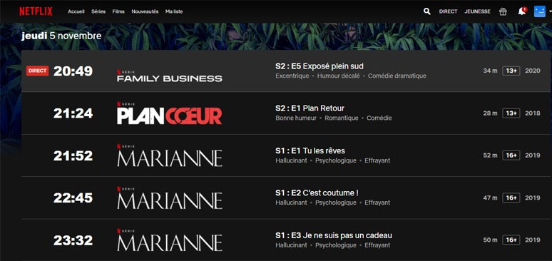exemple plage horaire netflix direct