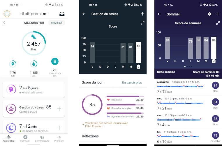 Fitbit Charge 5 application mobile données santé